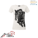 PERFECT HORSE T-shirt damski Impression Jump biały